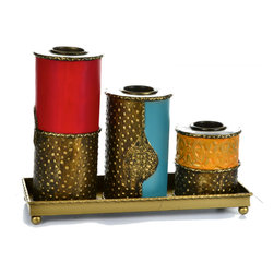 "Concepts Life - Concepts Life Candle Holder  Moorish Splendor - Looking for a wonderful, intimate way to illuminate a space? Look no further than this rich, hand-painted upright, tiered candle holder. Comes with hand painted iron tray so that your furniture doesn't get covered in melted wax!  Modern home accent Hand-painted candle holders Crafted from 100% iron Set includes three candle holders Beautifully hand-crafted; will have unique bends and asymmetries Dimensions: 12""w x 9""h x 4""d Weight: 3 lbs"