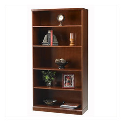 Mayline - Mayline Sorrento 5 Shelf Bookcase in Bourbon Cherry - Mayline - Bookcases - SB5SCR - The Sorrento veneer desking system is a transitional line of wood office furniture for executive offices individual workspaces conference rooms and reception areas. This line combines a high end look and technology-friendly features. Sorrento uses AA-grade North American Hardwood veneers throughout.