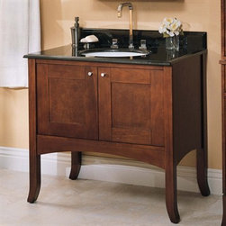 "Fairmont Designs - Fairmont Designs 36"" Lifestyle Collection Shaker Vanity - Dark Cherry - Fairmont Designs is described in two words; quality and beauty. Express your creativity with Fairmont Designs bathroom vanities and bath furniture ensembles. The distinctive families of bath furniture from Fairmont Designs come in styles for every bath. Artistry and elegance are delivered in carefully constructed products built with sustainable materials and sturdy craftsmanship. From petite corner solutions to traditional sized pieces, Fairmont Designs is your choice for exquisite and timeless beauty.Fairmont Designs allows you to create your own unique bathroom vanity set by mixing and matching pieces and components. Elegant in its simplicity, the Shaker style is known for its focus on form and function. Two different finishes, a rich, classic dark cherry and a crisp polar white, ensure the Shaker Collection will enhance both traditional and more modern bathroom settings. Featuring a streamlined silhouette, reverse raised panels, simple, brushed nickel hardware, and gentle tapered legs, the Shaker Collection is ideal for creating a subtle statement in your bath. The Shaker 36"" Single Vanity is made of the finest select poplar solids and cherry veneers finished in a beautiful Dark Cherry color, accented with satin chrome finish hardware. The Shaker line features Eased edged countertops. Create the vanity to suit your taste; order the vanity alone, or with your choice of stone top and backsplash and sink. Need more storage or counter space? Create a double vanity using the drawer bridge. Check out these ideas to start, and contact us to create your own custom bathroom vanity! Available in multiple sizes and finishes. Actual cabinet color may vary because each piece is handmade and finished. Granite and marble countertops are natural stone and as a result we cannot guarantee exact shading or grain. Your Fairmont Designs quality vanity is a significant investment expected to last for generations. To maintain its beauty and help it last, please refer to the Care & Cleaning FAQ. Please allow for 2-3 week delivery time for Fairmont Designs vanities. Please note, granite and marble counters can not be returned. More information regarding the return policy of your Fairmont Designs product is available here. Features Mix and match; order vanity alone, or with any combination of stone top and backsplash, mirror or medicine cabinet, linen tower, knee drawer, stool, and sink Completely hand made Porcelain undermount sinks How to handle your counterView Spec Sheet Dimensions    Width Depth Height  Vanity 37.5 21 33.5  Vanity Counter 37 22.5 0.75  Mirror 26/32/38 2.25 34  Semi-Recessed Medicine Cabinet* 27 7.25 36  Medicine Cabinet 27 6.5 36  Linen Base 19.75 21.5 35  Linen Hutch 21.5 22.5 42.5  Drawer Bridge 12 20.625 18.5  Knee Drawer 24 20.5 5  Knee Drawer Side Panel 1.375 20.625 30  Knee Drawer Counter 25 22 0.75  Vanity Stool 18 14 18  *Rough wall opening: 22.5"" x 5"" x 33.75""."
