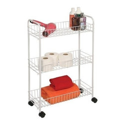 Richards Homewares - White Wire Cart with Wheels, 3-Tier, Medium - Wire shelves make it easy to store and find items. Great for laundry room, bath rooms, and pantries. Rolls anywhere on easy glide castors. Available in three size to fit every storage need.