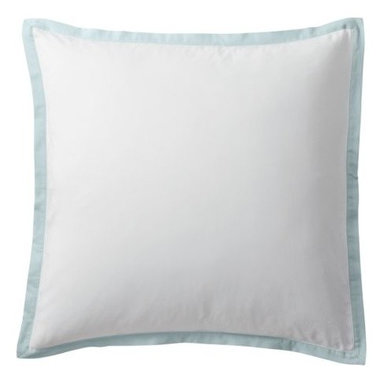 "Serena & Lily - Aqua Border Frame Euro Sham - A clean, simple design for those who crave a quieter bed. Tailored from crisp white 300-thread-count 100% cotton sateen; finished with a 1"" flange in aqua."