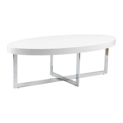 Eurostyle - Eurostyle Oliver Oval Wood Top Coffee Table in White Lacquer & Chrome - Oval Wood Top Coffee Table in White Lacquer & Chrome belongs to Oliver Collection by Eurostyle Oliver Oval Coffee Table has a union of design style. Oval top and an angular X-shaped base give this contemporary coffee table an urban inspired look that will be a modern addition to your home's decor. This modern coffee table features an X-shaped chromed steel base and walnut thick wood or high gloss white top. Simple and unique make this coffee table suitable for any entertaining place. Features Veneered walnut or high gloss white top Chromed steel frame. Table Base (1), Table Top (1)