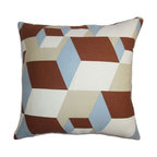 """The Pillow Collection - Fan Geometric Pillow Brown Blue 18"""" x 18"""" - Bring texture and dimension to your living space with this contemporary throw pillow. This accent pillow comes with a geometric pillow pattern in rich hues like brown, blue and white. Lend a refreshing look to your living room or bedroom with this square pillow and pair it with a matching pattern. This 18"""" pillow is made with a blend of materials 55% linen and 45% cotton fabric. Hidden zipper closure for easy cover removal.  Knife edge finish on all four sides.  Reversible pillow with the same fabric on the back side.  Spot cleaning suggested."""