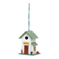 None - Wooden Welcome Sign Birdhouse - Give your feathered friends a place of their very own with this charming hanging birdhouse. With a green roof and painted 'Welcome' sign, this dainty weather-resistant birdhouse is stylish as well as functional.