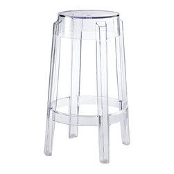 LexMod - Casper Counter Height Stool - The silhouette-inspired design of this counter stool is a sure attention grabber that coordinates with any color scheme. Constructed from transparent acrylic, this stunner includes non-marking feet that both help protect sensitive floors and stabilize the stool.