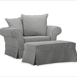 Charleston Chair-and-a-Half Slipcover, Washed Linen/Cotton Metal Gray - Designed exclusively for our popular Charleston Collection, these soft, inviting slipcovers retain their smooth fit and remove easily for cleaning. Care varies depending on {{link path='pages/popups/fab_leather_popup.html' class='popup' width='720' height='800'}}fabric type{{/link}}. This item can also be customized with your choice of over 90 custom fabrics and colors. For details and pricing on custom fabrics, please call us at 800.840.3658 or click Live Help above. All slipcover fabrics are hand selected for softness, quality and durability. This is a special-order item and ships directly from the manufacturer. To see fabrics available for Quick Ship and to view our order and return policy, click on the Shipping Info tab above. Catalog / Internet Only.