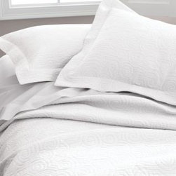 Garnet Hill - Garnet Hill Tumbled Swirl Sham - Standard - White - A textural matelasse weave twirls and spins across this pure-cotton coverlet, taking you from season to season with ease and style. Tumble-washed for exquisite softness. Coverlet has a wide 3/4-inch hem; pillow sham has a 2-inch flange.