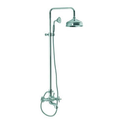Nameeks - Fima Frattini by Nameeks S5084/2 Tub/Shower Faucet with Hand Shower - S5084/2BR - Shop for Bathroom from Hayneedle.com! The Fima Frattini by Nameeks S5084/2 Tub/Shower Faucet with Hand Shower is a charming shower set that includes a tub spout a lamp-like overhead shower head and an elegant hand-held shower-sprayer. The hand-shower attaches to the vertical slide bar with a mounting bracket for height and angle adjustment. Two cross-knob handles let users control the temperature mix and volume-flow while a diverter controls where the flow comes from. The unit comes protected from scratches and water-damage by your choice of finish: gold satin nickel brass rustic or polished chrome. Product Specifications: ADA Compliant: No Country of Origin: Italy Drain Assembly Included: No Mounting Style: Wall Mount Hose length: 60 inches Number of Handles: 2 Handle Style: Knob Showerhead Width: 8 inches Overall Height: 41.33 inches Spout Reach: 11.81 inches Spray Pattern: Dual-function Valve Included: No About NameeksFounded with the simple belief that the bath is the defining room of a household Nameeks strives to design a bath that shines with unique and creative qualities. Distributing only the finest European bathroom fixtures Nameeks is a leading designer developer and marketer of innovative home products. In cooperation with top European manufacturers their choice of designs has become extremely diversified. Their experience in the plumbing industry spans 30 years and is now distributing their products throughout the world today. Dedicated to providing new trends and innovative bathroom products they offer their customers with long-term value in every product they purchase. In search of excellence Nameeks will always be interested in two things: the quality of each product and the service provided to each customer.