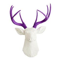 White Faux Taxidermy - The Wyatt - White Faux Resin Deer Head w/Lavender Antlers - Measurements:
