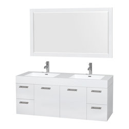 "60"" Double Bathroom Vanity, Acrylic Resin Countertop, Sinks, 58"" Mirror - The Amare wall-mounted vanity family delivers beautiful wood grain exteriors offset by modern brushed chrome door pulls. Each vanity provides a full complement of storage areas behind sturdy soft-close doors and drawers. This versatile vanity family is available with distinctive vessel sinks or sleek integrated counter and sinks to fulfill your design dreams. A wall-mounted vanity leaves space in your bathroom for you to relax. The simple clean lines of the Amare wall-mounted vanity family are no-fuss and all style."