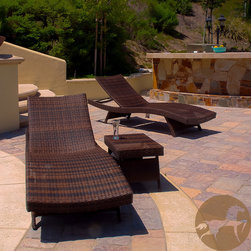 Christopher Knight Home - Christopher Knight Home Outdoor Brown Wicker 3-piece Adjustable Chaise Lounge Se - Relax with this sturdy and attractive brown wicker outdoor chaise lounge set. The three-piece set includes two comfortable lounge chairs and a convenient table so you can enjoy a restful afternoon on your patio with someone who is near and dear to you.