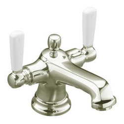 KOHLER - KOHLER K-10579-4P-SN Bancroft Monoblock Lavatory Faucet with Escutcheon - KOHLER K-10579-4P-SN Bancroft Monoblock Lavatory Faucet with Escutcheon and White Ceramic Handles in Polished Nickel