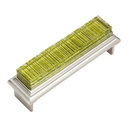"Jazz & Riffs Hardware - Riffs - Cup Pulls, Garden Green, 6"" Length - Recycled layered glass sparkles and shines with pure, clear color [R harmonizing and moving, yet composed. Add the sparkle of jewelry to your next interior project. This distinctive hardware line was created for Hospitality Interiors, yet is perfect for fine furniture, cabinets and doors in restaurants, spas, hotels and high-end residential spaces. Due to the Artisan nature of this handmade process [R every piece of hardware is unique."