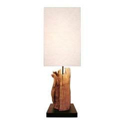 scandinavian Design - Driftwood Lamp - This Table lamp is made of Driftwood that was carefully hand selected and put together by Scandinavian designers to give it this unique look, Comes with a Natural linen shade that compliment the base.