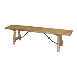 Kathy Kuo Home - Zareb Reclaimed Rustic Elm Wood Spanish Iron Base Bench - This simply styled bench gets along with everyone. Made of reclaimed elm and set on an iron base, it has the amazing ability to blend with all sorts of design aesthetics from industrial to rustic lodge. Place it in a hallway or pair it with your dining table.