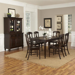 Home Styles - Home Styles Bermuda Espresso 7 Piece Dining Set Dark Brown - 5542-319 - Shop for Dining Sets from Hayneedle.com! A handsome way to upgrade your dining room the Home Styles Bermuda Espresso 7 Piece Dining Set blends British colonial and old world tropical styles together with delicious results. This well-crafted set includes a dining table with leaf and six chairs. All pieces are made of mahogany solids with mahogany and albazia veneers in a deep espresso finish. Design details include turned and tapered legs and fiddle back chair design. The 18-inch removable leaf means you can now accommodate the whole family for holiday dinners.About Home StylesHome Styles is a manufacturer and distributor of RTA (ready to assemble) furniture perfectly suited to today's lifestyles. Blending attractive design with modern functionality their furniture collections span many styles from timeless traditional to cutting-edge contemporary. The great difference between Home Styles and many other RTA furniture manufacturers is that Home Styles pieces feature hardwood construction and quality hardware that stand up to years of use. When shopping for convenient durable items for the home look to Home Styles. You'll appreciate the value.