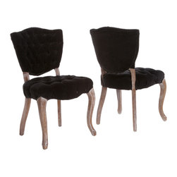 Great Deal Furniture - Violetta French Design Black Dining Chair (Set of 2) - These black velvet dining chairs have a certain panache, n'est-ce pas? The elaborate carved legs, luxurious tufted cushions and weathered oak finish give this pair an authentic vintage French look that you'll love.