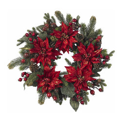"Nearly Natural - 24"" Poinsettia & Berry Wreath - Easily one of our most colorful offerings, this 24"" Poinsettia & Berry Wreath is a preverbal ring of festivity! Holiday colors simply explode from this wreath, filling the eyes with dazzling reds and greens, in all manner of shapes and sizes. Ideal for those times you want to literally ""fill"" an area with holiday cheer. Also makes a fabulous gift. Height: 24 in; Width: 24 in; Depth: 24 in."