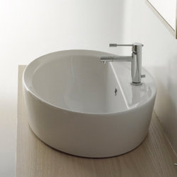 "Scarabeo - Gorgeous Oval Shaped White Ceramic Built-In Sink - Designed and manufactured in Italy by Scarabeo. Gorgeous contemporary oval shaped built-in sink with overflow. Includes a single faucet hole and a bowl shaped washbasin with a vertical back. Sink made of high quality porcelain white ceramic. Sink dimensions: 26.40"" (width), 11.80"" (height), 18.10"" (depth)"