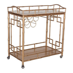 The Sedgewick Bar Cart, Gold - The classic Chinoiserie bar cart is faux bamboo. Highly sought after, this vintage-inspired bar cart will give your living or dining room Hollywood Regency glamour and sophistication. It is available in gold or silver.