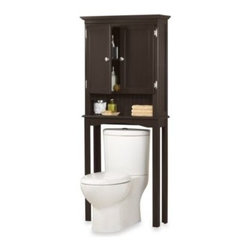Zenith Products Corporation - Fairmont Espresso Space Saver Bathroom Cabinet - This elegantly-designed space saver cabinet fits over standard toilets. It features an espresso finish with brushed nickel hardware accents on the exposed hinges and door knobs.