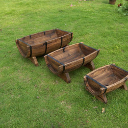 Half Barrel Wooden Planter Boxes - Half barrel planters, small, medium and big size. No any assembly works, can be placed at any desires places indoor and outsoor. Enable you plant different flowers, vegetables conveniently.