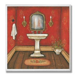 Stupell Industries - Red Bath with Sink Bath Wall Plaque - Made in USA. Ready for Hanging. Hand Finished and Original Artwork. No Assembly Required. 12 in L x .5 in W x 12 in H (2 lbs.)Point your guests in the right direction with elegant bathroom plaques from The Stupell Home decor CollectionEach plaque comes with a sawtooth hanger for easy installation on bathroom doors or walls.