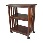 """Manchester Wood - Mission Microwave Cart - Features: -TV/Microwave cart.-Portable unit designed to hold a TV in the bedroom or use as a microwave stand in the kitchen.-Twin hooded casters for easy mobility.-Mission style.-Made in USA.-Solid ash wood construction.-Stain resistant lacquer finish.-Product Type: Microwave cart / TV stand.-Collection: Mission.-Distressed: No.-Powder Coated Finish: No.-Gloss Finish: No.-Base Material: Solid wood.-Counter Material: Solid wood.-Solid Wood Construction: Yes.-Stain Resistant: Yes.-Warp Resistant: Yes.-Exterior Shelves: Yes -Number of Exterior Shelves: 2..-Drawers Included: No.-Cabinets Included: No.-Towel Rack: No.-Pot Rack: No.-Spice Rack: No.-Cutting Board: No.-Drop Leaf: No.-Trash Bin Compartment: No.-Stools Included: No.-Casters: Yes -Locking Casters: Yes.-Removable Casters: Yes..-Wine Rack: No.-Stemware Rack: No.-Cart Handles: No.-Finished Back: No.-Weight Capacity: 200 lbs.-Shelf Weight Capacity: 50 lbs.-Swatch Available: Yes.-Commercial Use: Yes.-Recycled Content: No.-Eco-Friendly: Yes.-Product Care: Dust as needed with soft cloth. Clean with damp cloth and mild solution of dish soap. Polish with soft cloth and polish that contains no pigment or silicone..-Country of Manufacture: United States.Specifications: -ISTA 3A Certified: No.Dimensions: -Overall Height - Top to Bottom: 32"""".-Overall Width - Side to Side: 24.5"""".-Overall Depth - Front to Back: 17.5"""".-Height Without Casters: 29.75"""".-Countertop Thickness: .75"""".-Countertop Width - Side to Side: 24.5"""".-Countertop Depth - Front to Back: 17.5"""".-Shelving: -Shelf Height - Top to Bottom (Middle) : 9"""".-Shelf Height - Top to Bottom (Bottom) : 12.75"""".-Shelf Width - Side to Side: 21"""".-Shelf Depth - Front to Back: 14.5""""..-Overall Product Weight: 38 lbs.Assembly: -Assembly required.-Assembly Required: Yes.-Tools Needed: Screws / Hammer.-Additional Parts Required: No.Warranty: -Product Warranty: Free of manfacturing defects at time of shipment."""