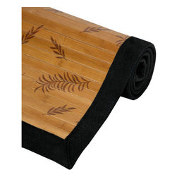 Oriental Furniture - Bamboo Rectangular: 5 Ft. x 8 Ft. Rug - - This Bamboo Rug with its Little Leaf design is an economic and green addition to any household.  It is made of all natural bamboo, a renewable resource, so it is good for the home and good for the earth.  Made from 100% natural bamboo.  Surrounded by a black cotton border.  Bamboo is fully varnished with a subtle shine.  Features a non-slip latex backing, so it does not require a carpet pad.  Made of a mature bamboo, whose longer growth period ensures extra strength, tighter fibers and a harder surface.  Kiln-dried bamboo is carbonized to prevent cracking and warping.  Choose from three convenient sizes: 2 ft. x 3 ft., 4 ft. x 6 ft. and 5 ft. x 8 ft. Oriental Furniture - RUG-BR1777-5x8