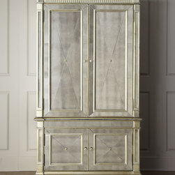 Amelie Mirrored Cabinet - A stunning mirrored cabinet with an antiqued silver finish with antiqued gold leafing accents catches the light and makes any room sparkle.