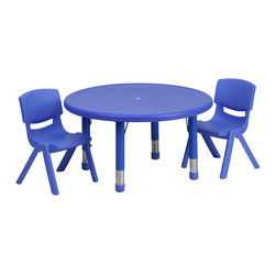 Flash Furniture - Flash Furniture 33'' Round Adjustable Blue Plastic Activity Table Set - This table set is excellent for early childhood development. Primary colors make learning and play time exciting when several colors are arranged in the classroom. The durable table features a plastic top with steel welding underneath along with height adjustable legs. The chair has been properly designed to fit young children to develop proper sitting habits that will last a lifetime.
