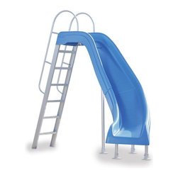 Inter-Fab City 2 Right Runway Pool Slide - Blue - -Available in 4 Colors (White, Blue, Tan, Gray) and in Left/Right Turn Models.