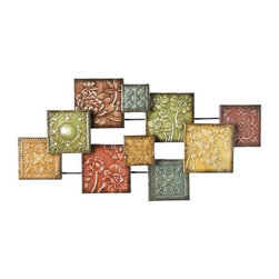 Home Decorators Collection - Bijou Wall Sculpture - The Bijou Wall Sculpture, with its decorative squares combined in an abstract pattern, creates a visual wonder. Each panel is a different size and floral pattern with hand painted colors and glaze creating a very eye catching piece of art for your home or office. Multi-colored design. Durable metal construction. Hand painted and glazed.