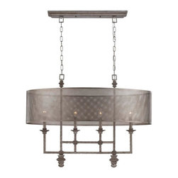 Savoy House - Savoy House-1-4301-4-242-Structure - Four Light Chandelier - Structure is a bold introduction by Raymond Waites that boasts an Aged Steel finish and Metal Mesh shades. This distinctive collection has an edgy architectural allure.