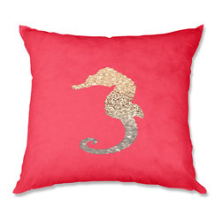 DiaNoche Designs - Pillow Linen - Monika Strigel Gatsby Gold Coral Seahorse - Soft and silky to the touch, add a little texture and style to your decor with our Woven Linen throw pillows.. 100% smooth poly with cushy supportive pillow insert, zipped inside. Dye Sublimation printing adheres the ink to the material for long life and durability. Double Sided Print, Machine Washable, Product may vary slightly from image.