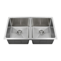 """MR Direct - MR Direct 3120D Undermount Double Bowl 3/4"""" Radius Sink, Sink Only - If you need to evenly split your kitchen chores, consider the 3120D. Its equal bowls allow flexibility in style. Featuring the same rounded interior corners as is characteristic of all 3/4'' radius sinks, the 3120D presents a smooth appearance which is also easier to clean. Don't worry about any potential minor scratches, the beautiful brushed satin finish will mask them. Manufactured from one solid piece of stainless steel, this model has offset drains, full insulation and sound-dampening pads. Of course the 3120D comes with the same limited lifetime warranty that applies to all MR Direct sinks."""