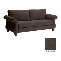 Apt2B - Ryandale Sofa, Chocolate - The Ryandale Collection will look great in both the suburban home or urban apartment. Espresso finished wooden legs and striking rolled arms make this sofa a top contender.