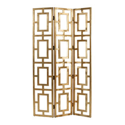 """Kathy Kuo Home - Gilded Hollywood Regency Gold Wood Open Floor Screen - When it comes to floor screens in generously sized spaces we say """"divide and conquer"""" and this fabulous gilded wood, fret worked screen does just that while letting air and light breeze through.  Use it as a divider, a makeshift headboard, or whatever else you dream up."""