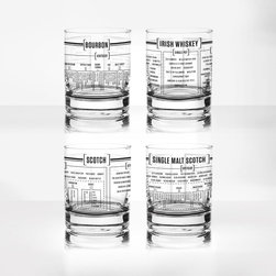 Whiskey Tumblers - Set of 4 - It's 5 o'clock somewhere. Grab a 14-ounce double old-fashioned glass tumbler that showcases the components and varieties of your favorite whiskey: Bourbon, Irish, Scotch, and Single Malt Scotch. They're a fun complement to your mid-century modern décor. All glasses are dishwasher safe, but hand-washing is recommended.