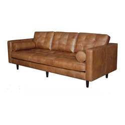 Maxwell Modern Leather Sofa - Inspired by midcentury modern design, this leather sofa beckons you to sit down with a glass of scotch and a cigar. Just be careful not to burn the softened top-grain leather or down feather cushions.
