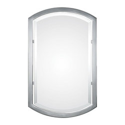 """Uttermost - Contemporary Uttermost Jacklyn 23"""" x 37"""" Polished Chrome Wall Mirror - Sleek clean lines define this stunning decorative wall mirror with a simple glistening polished chrome finish frame. The rectangular design with rounded top and bottom has a distinctive flair perfect for a sophisticated room decor. A generous 1 1/4"""" bevel adds a wonderful finishing touch to the piece. This transitional style Uttermost mirror can be hung vertically or horizontally. Rounded rectangle wall mirror. Polished chrome plated finish frame. Glass has a 1 1/4"""" bevel. May be hung vertically or horizontally. Hang weight is 16 lbs. 23"""" wide. 37"""" high. 2"""" deep.    Rounded rectangle wall mirror.  Polished chrome plated finish frame.  Glass has a 1 1/4"""" bevel.  May be hung vertically or horizontally.  Hang weight is 16 lbs.  23"""" wide.  37"""" high.  2"""" deep.  Mirror glass only is 32"""" high 19"""" wide."""