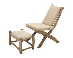 Classy and Comfortable Wood Chair Ottoman, Set of 2 - Description: