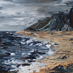 Headlands (Original) By Ed Z - Painted with palette knives in a heavily textured, impasto style.  The deep, textured strokes give a sense of weight and motion to the water