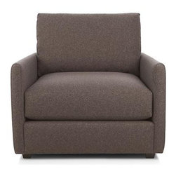 Drake Chair - A livable mix of family-friendliness and easy elegance with modern European roots. Upholstered in a chunky polyester basketweave, the Drake collection offers a host of deep-seated, plump, cushioned pieces for custom lounging solutions in any space.