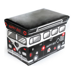Blancho Bedding - Happy Bus-BlackRectangle Foldable Faux Leather Storage Ottoman / Storage Boxes - The Foldable Storage Seat will make an ideal addition to your room, which combines accessible everyday storage with a useful occasional seat. Not only does it provide you a comfortable place to rest, but it also offers extra space to store your gaming gear, gadgets, books, magazines, and other household necessities. With lots of storage space, the ottoman helps you keep your room free from clutter. Made with non-woven fabric and durable cardboard. It spices up your home's decor, and create a multifunctional storage unit for all around your home.