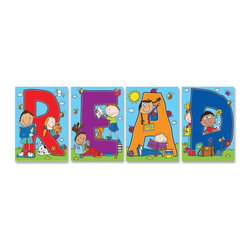 Carson-Dellosa - Carson-Dellosa READ Bulletin Board Decoration Set - Bulletin board decoration set includes four charts to promote reading. each chart features one of the letters that spell, Read, and pictures of children reading. Set includes a resource guide.