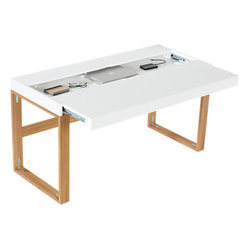Torino Desk/Table - I love how the top of this desk slides open for quick storage. It's so cool!