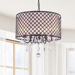 Otis Designs - Carina Antique Bronze Finish Drum Shade Crystal Chandelier - Add refined elegance to your home with this beautiful Chandelier made of cross hatched iron. The dangling crystal accents capture the tantalizing effect of light going through a prism for you and your guests to enjoy.