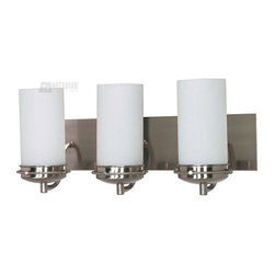 Satco - Satco Polaris ES Energy Efficient Transitional Bathroom / Vanity Light X-694/06 - Polaris features classic geometric design elements which deliver a clean, crisp appearance.  This collection is beautifully finished in Brushed Nickel and features White Opal glass.