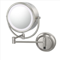 Aptations - Kimball & Young 92545Hw Neo Modern Mirror - Kimball & Young 92545Hw Double Sided Neo Modern Led Lighted Mirror - Hardwired 5X / 1X Chrome